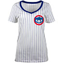 Chicago Cubs Ladies 84 Pinstripe V-Neck T-Shirt