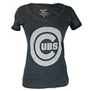 Chicago Cubs Ladies Ballpark Navy Full Tonal T-Shirt