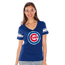 Chicago Cubs Ladies Distressed Bullseye V-Neck T-Shirt