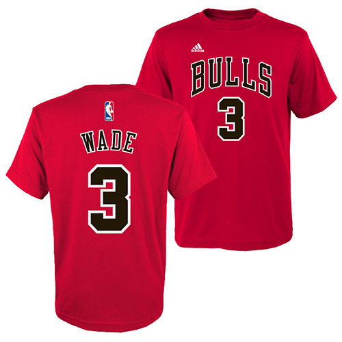 sports shoes d6fb6 a5f66 Chicago Bulls Dwyane Wade Youth Name and Number T-Shirt
