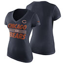 Chicago Bears Ladies Team Stripe Tri-Blend V-Neck T-Shirt