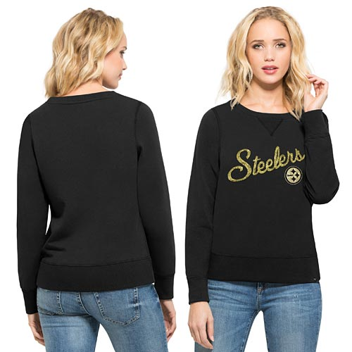 Pittsburgh Steelers Ladies Sparkle Cross-Check Crew Sweatshirt 71685c170
