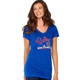 Chicago Cubs Ladies 2016 World Series Multi-Count V-Neck T-Shirt