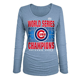 Chicago Cubs Ladies 2016 World Series Champions Scoop Neck Tri-Blend Long Sleeve T-Shirt
