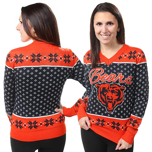 e737938f Chicago Bears Ladies Big Logo V-Neck Pullover Sweater