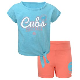 Chicago Cubs Preschool Girls Trainer Shirt and Shorts Set