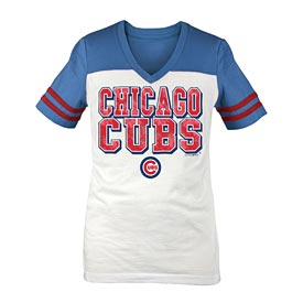 Chicago Cubs Girls Clear Flake Sleeve Stripe V-Neck T-Shirt