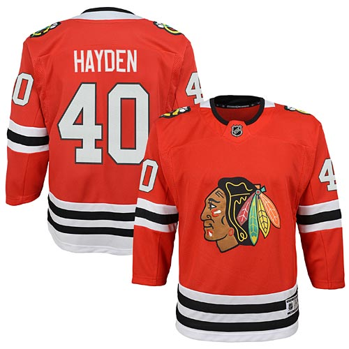 low priced e9a24 8208f Chicago Blackhawks John Hayden Youth Red Premier Jersey w/ Authentic  Lettering