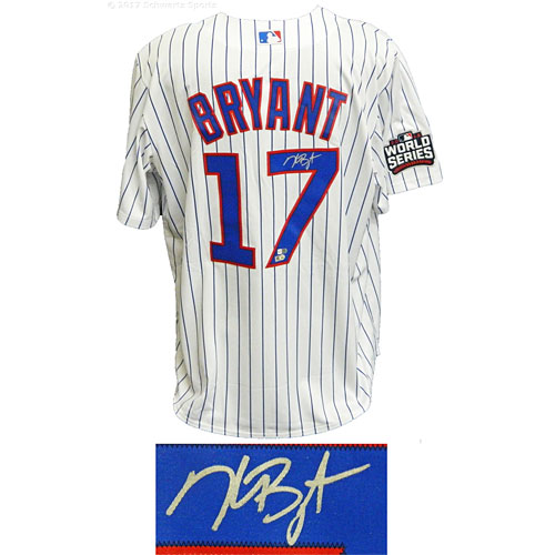 Chicago Cubs Kris Bryant Signed Home 2016 World Series Patch Majestic Jersey 51319cf5a
