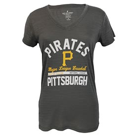Pittsburgh Pirates Ladies Multi-Count Arch Tri-Blend V-Neck T-Shirt