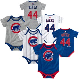 Chicago Cubs Anthony Rizzo Newborn 3-Pack Bodysuit Set