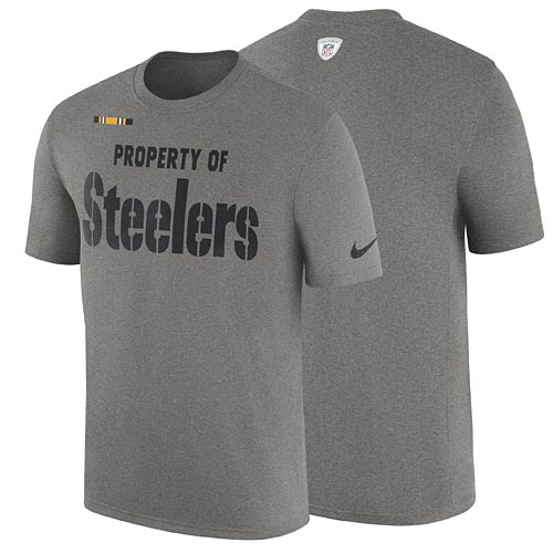 dfd99ba6e307 Pittsburgh Steelers Nike Heathered Gray Property Of Facility T-Shirt