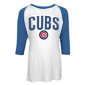 Chicago Cubs Youth Girls Sequin Raglan T-Shirt