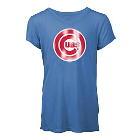 Chicago Cubs Girls Foil V-Neck T-Shirt