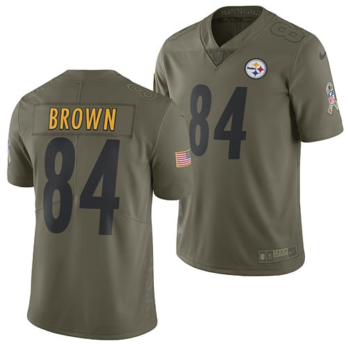 quality design a6eb5 eb123 Pittsburgh Steelers Antonio Brown 2017 Nike Olive Salute to Service Limited  Jersey