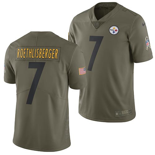 hot sale online c905d 56ddf Pittsburgh Steelers Ben Roethlisberger 2017 Nike Olive Salute to Service  Limited Jersey