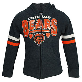 Chicago Bears Girls Tri-Blend Full-Zip Hooded Sweatshirt