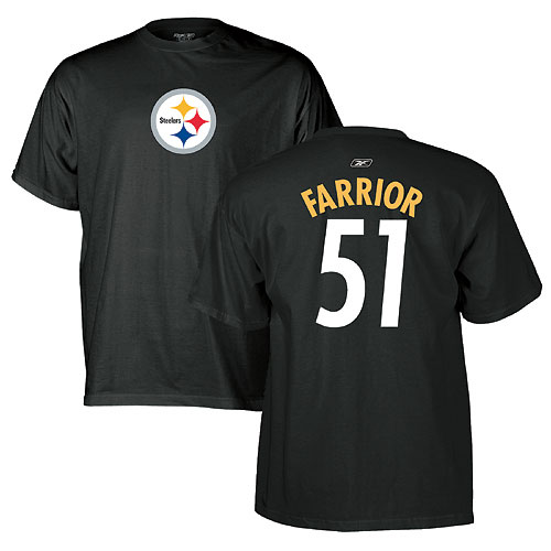 premium selection 90ddb f9a98 Pittsburgh Steelers James Farrior Name and Number T-Shirt