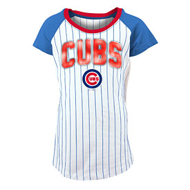 Chicago Cubs Girls Pinstripe Scoop Neck T-Shirt