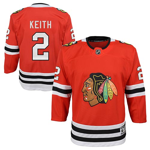 new product c1a74 83da2 Chicago Blackhawks Duncan Keith Youth Red Premier Jersey w/ Authentic  Lettering