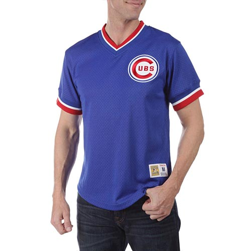 new arrival cc01b 8b44a Chicago Cubs Throwback Mesh V-Neck Jersey