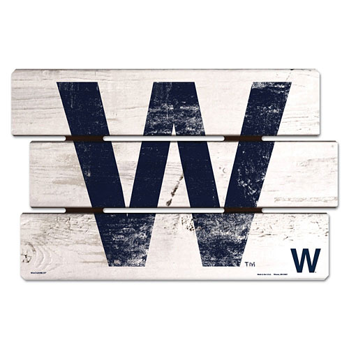 Chicago Cubs W Flag Fence Wood Sign