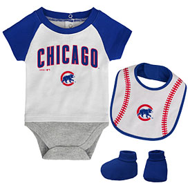 Chicago Cubs Newborn Baseball Creeper, Bib & Bootie Set