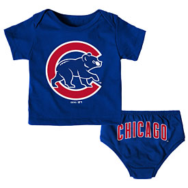 Chicago Cubs Newborn Mini Uniform T-Shirt and Diaper Set
