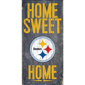 "Pittsburgh Steelers Home Sweet Home 12"" x 6"" Wood Sign"