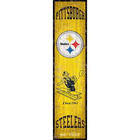 "Pittsburgh Steelers Heritage Logo Vertical 6"" x 24"" Wood Sign"
