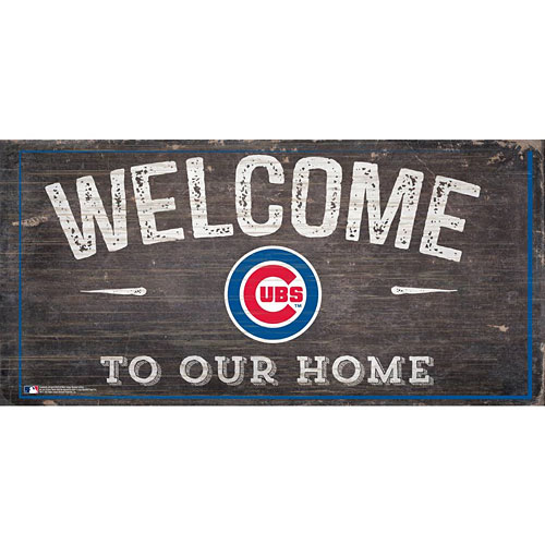 Chicago Cubs Distressed Welcome To Our Home Wood Sign