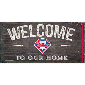Philadelphia Phillies Distressed Welcome To Our Home Wood Sign