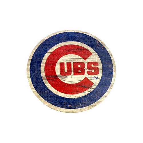 Chicago Cubs Distressed Logo Cutout Sign Wall Art