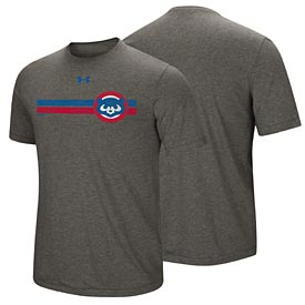 Chicago Cubs Under Armour Cooperstown Stripe Triblend T-Shirt