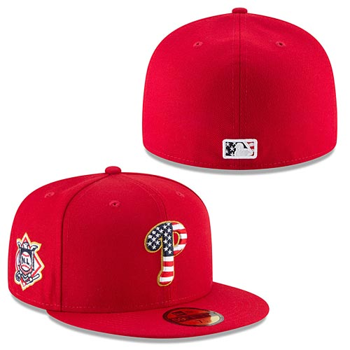 Philadelphia Phillies New Era Red 2018 Stars   Stripes 4th of July On-Field  59FIFTY Fitted Hat 2c950b05c03