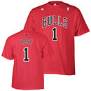 Chicago Bulls Derrick Rose Red Name and Number T-Shirt
