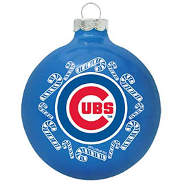 Chicago Cubs Wrap Around Glass Ornament