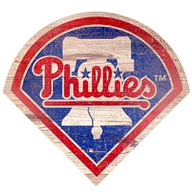 "Phillies Distressed Logo 24"" Wood Sign"