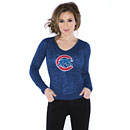 Chicago Cubs Ladies Walking Bear Burnout Thermal Long Sleeve Shirt