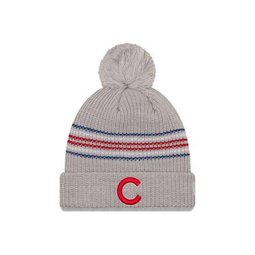 Chicago Cubs New Era Women s Snowy Stripe Cuffed Knit Hat with Pom 441c72d6254