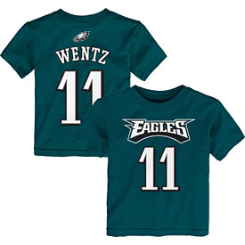 Philadelphia Eagles Carson Wentz Preschool Midnight Green Name & Number T-Shirt