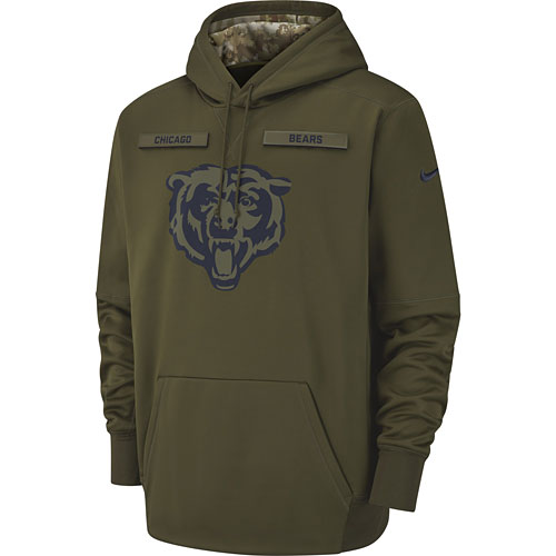 innovative design 15375 2005e Chicago Bears Nike Salute to Service Pullover Performance Hoodie - Green