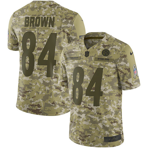 buy popular b6853 6a4df Antonio Brown Pittsburgh Steelers Nike Salute to Service Limited Jersey –  Camo