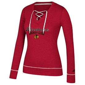 Chicago Blackhawks Ladies Skate Lace Long Sleeve T-Shirt
