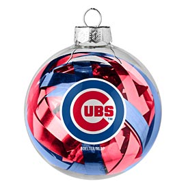 Chicago Cubs Tinsel Ball Glass Ornament