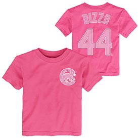 Chicago Cubs Anthony Rizzo Pink Toddler Name and Number T-Shirt