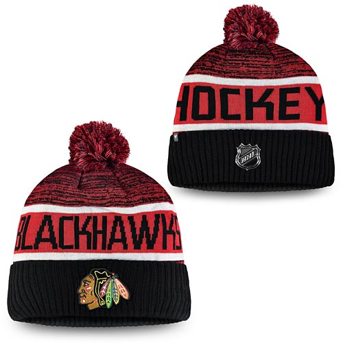 629bce61c Chicago Blackhawks Fanatics Branded Authentic Pro Rinkside Goalie Cuffed  Knit Hat With Pom