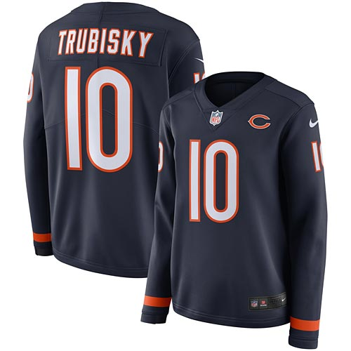 low priced 8d17c d1cc4 Chicago Bears Mitchell Trubisky Ladies Therma Long Sleeve Jersey