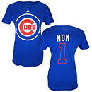 Chicago Cubs Ladies #1 MOM Name and Number T-Shirt